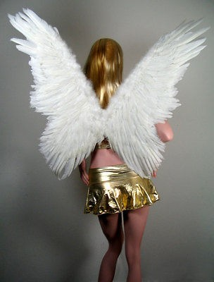 LARGE White Butterfly Feather Angel Wings FREE HALO Halloween costume