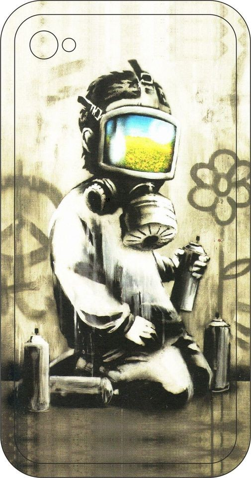 Banksy Child with Gas Mask iPhone Skin (Sticker) For iPhone 5, 4, 4s