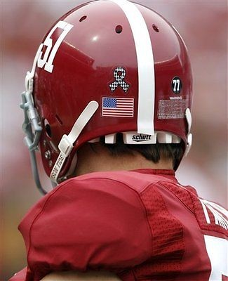 Alabama Crimson Tide Football Helmet Hounds Tooth Ribbon and #77