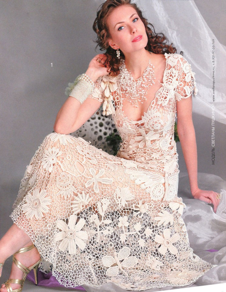 Russian Crochet Knitting Patterns Book Wedding Dress CardiganFashion