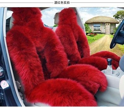 Genuine Sheepskin car seat cover Car Parts Interior Seat Covers  Red