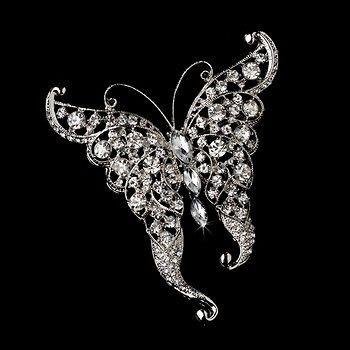 Crystal Butterfly Bridal Brooch Comb Cake Brooch