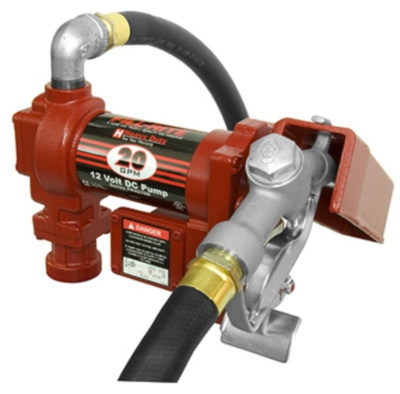 Fill Rite 12V 20 GPM Hi Flow Fuel Transfer Pump with Manual Nozzle