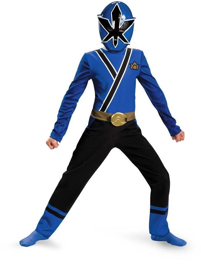 Boys Power Blue Ranger Samurai Classic Halloween Costume Kids Children