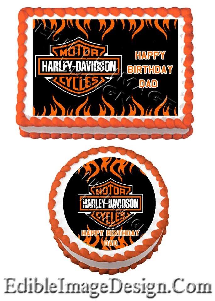 Edible Cake Images Harley Davidson : HARLEY DAVIDSON Edible Birthday Party Cake Image Cupcake ...