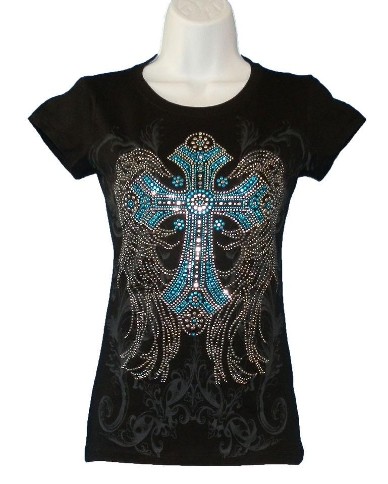 Brand Womens Black T Shirt Rhinestone Cross Angel Wings Blue Stones