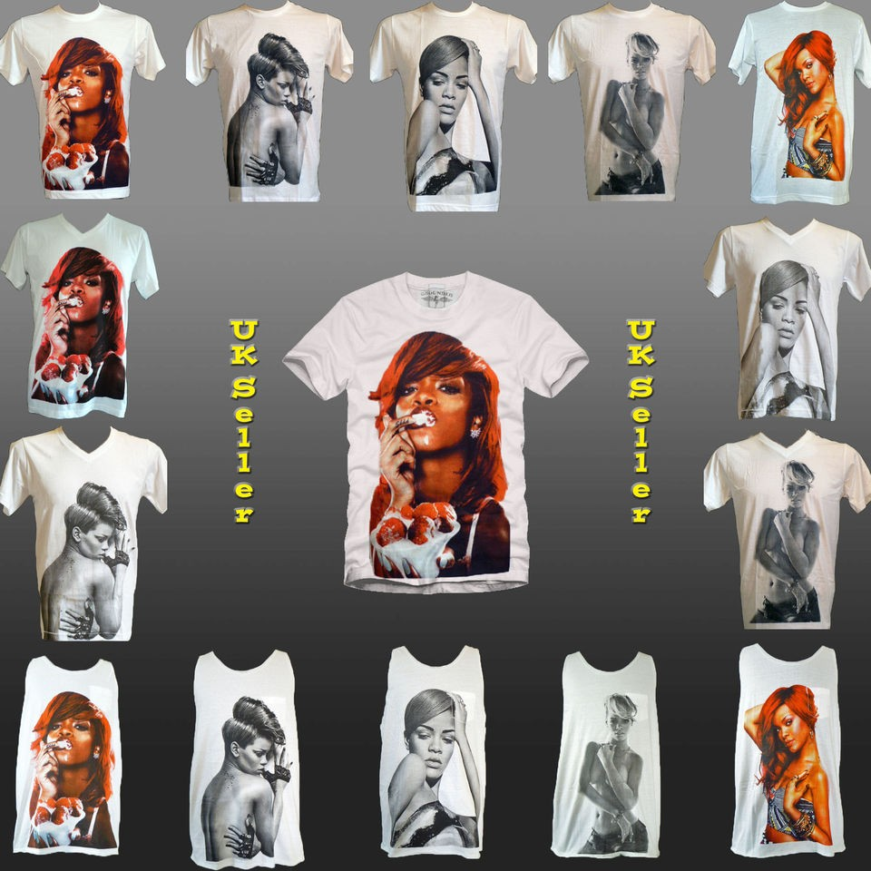 RIHANNA Jay Z Pop R&B Tank T Shirt lady gaga Remix T shirts S M L XL