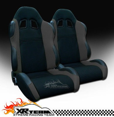 2x Universal LH+RH Blk/Grey Fabric & PVC Leather Sport Racing Seats