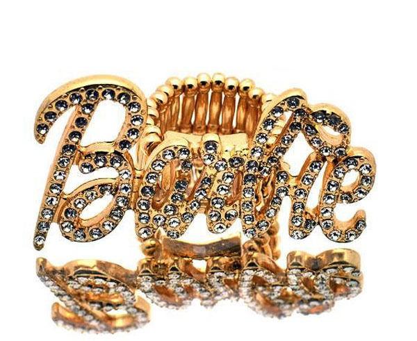 New Nicki Minaj Iced Out Barbie Stretch Ring Gold OS