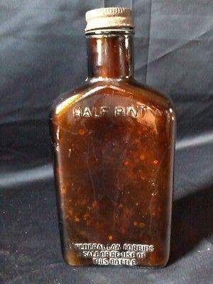 ANTIQUE Brown Glass HALF PINT LIQUOR Bottle with ORIGINAL Cap