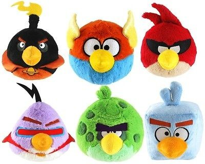 BIRDS SPACE PLUSH SET OF 6 LICENSED 5 NWT Red, Blue Ice, Bomb, Purple