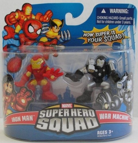 Marvel Super Hero Squad IRON MAN w removable helmet & WAR MACHINE