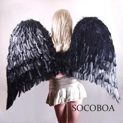 SUPER LARGE Black Feather Angel Costume Wings Men Halloween XXL adult