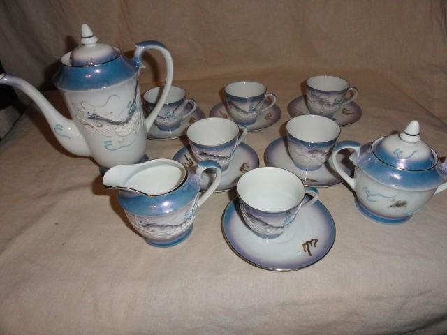 Dragonware Blue pearl Moriage demitasse tea set Geisha
