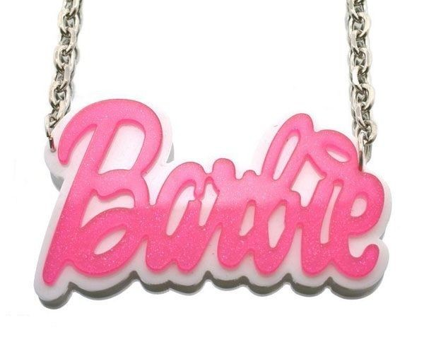Nicki Minaj Inspired Glitter Pink BARBIE Pendant Necklace Double