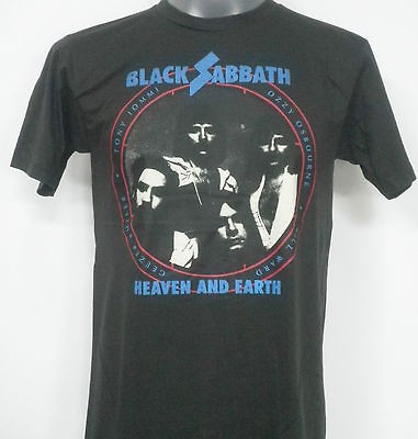 BLACK SABBATH HEAVEN AND EARTH ROCK T SHIRT BLACK SIZE L
