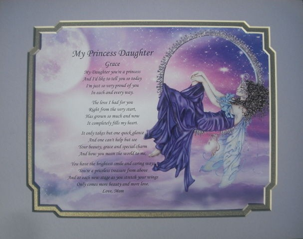 DAUGHTER PERSONALIZED POEM BIRTHDAY OR CHRISTMAS GIFT FAIRY DECOR