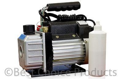 Single Stage 3CFM 1/4HP Rotary Vane Vacuum Pump HVAC Air AC A/C R410a