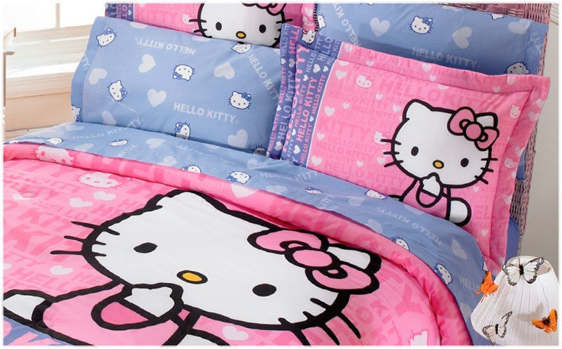 New Purple Pink White Hello Kitty Comforter Bedding Sheet Set Twin 6