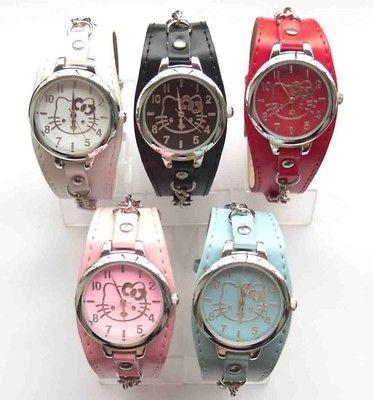 Wholesale 5 pcs Hello Kitty Children necklace wrist watch 5 Color Time