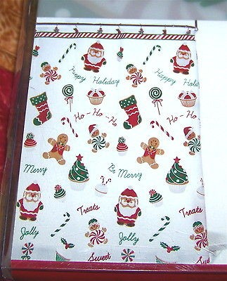 Gingerbread Man Shower Curtain And Hook Set 12 Christmas