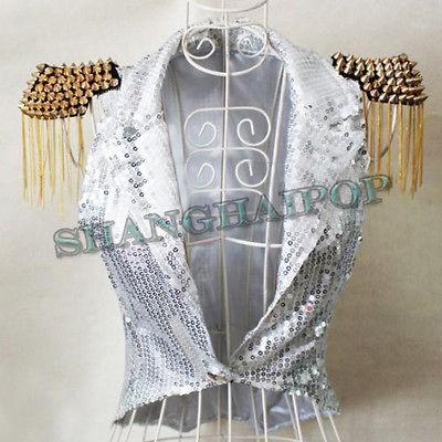 Fringe Sequin Shrug Waistcoat Women Stud Spike Vest Lady Gaga