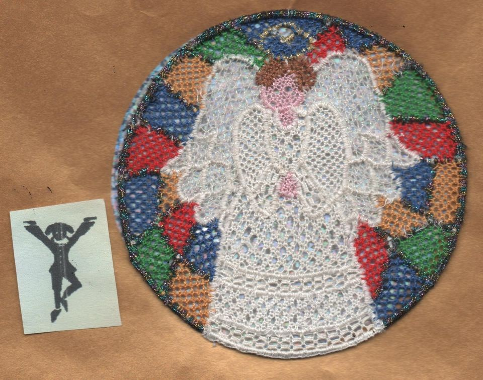 needle lace pattern no 66 angel in stained glass window  2