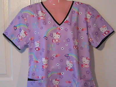 new nursing medical scrubs top hello kitty purple large