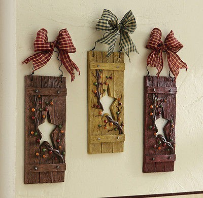 Primitive Hearts And Stars Country Hanging Wall Decor Vine Berry