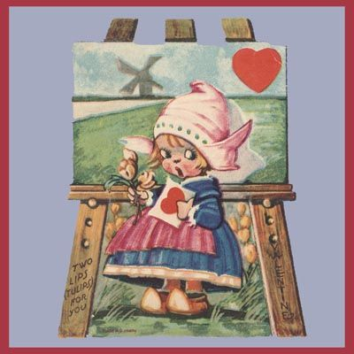 Vtg Valentine Card Dutch Two Lips Tulips Artist Canvas