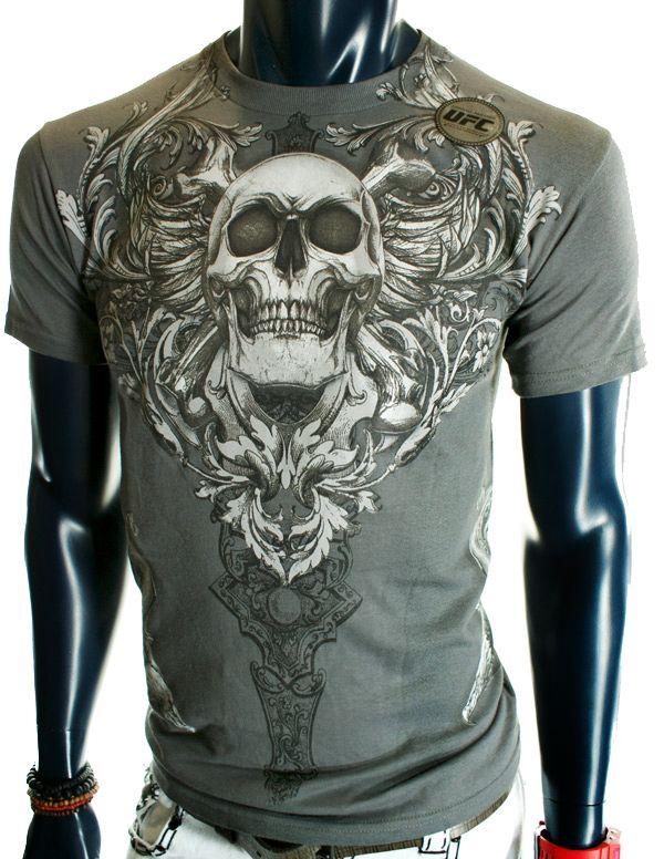 Mens Skulls Cross Red Wings UFC MMA Gray Skate Club T Shirt XXL