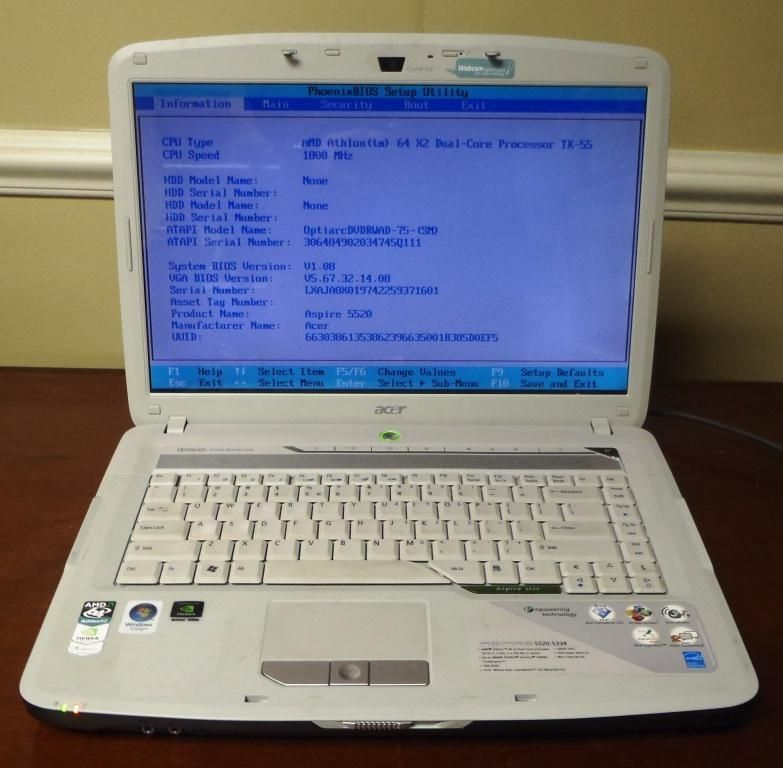 Acer Aspire 5520 15 4 Laptop 1 8GHz AMD Dual Core DVD RW 512MB RAM