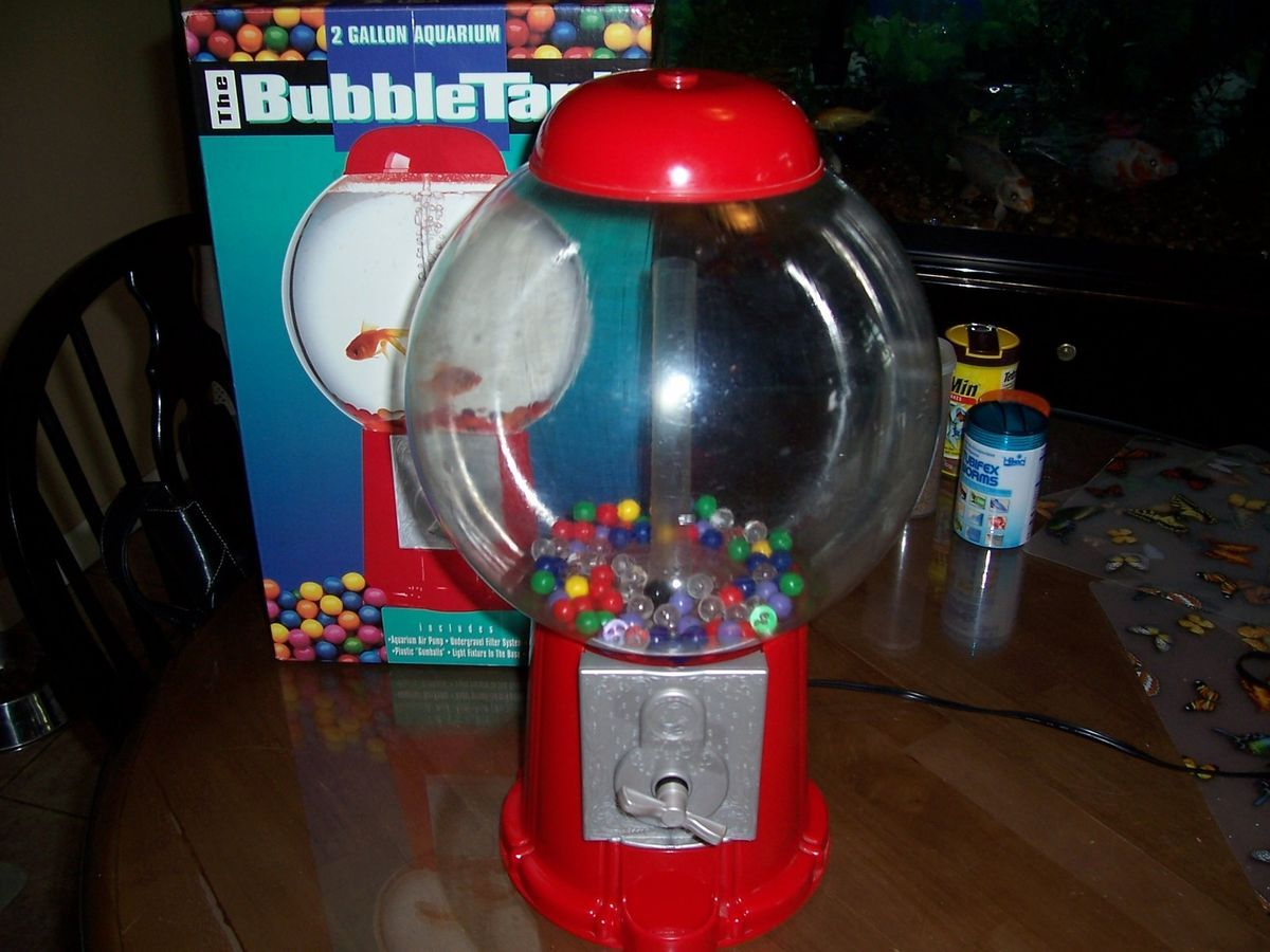 Bubble tank 2 gallon aquarium gumball machine fish tank for Gumball fish tank