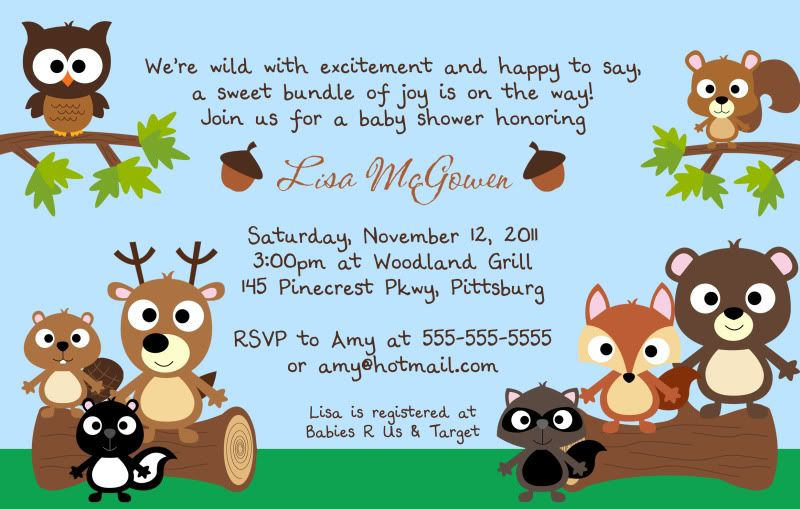 Forest Friends Baby Shower Invitation You Print Woodland Deer Owl