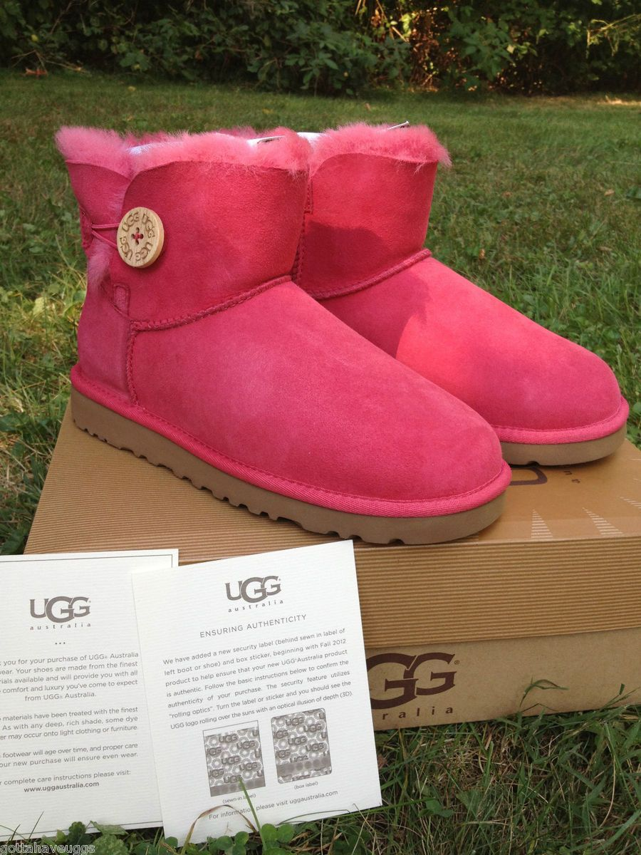 UGG Mini Bailey Button in Tea Rose Pink Womens Sizes 5 9 Style 3352