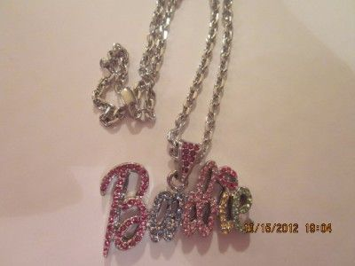 Iced Out Nicki Minaj Barbie Necklace Pendant Hip Hop Silver Color