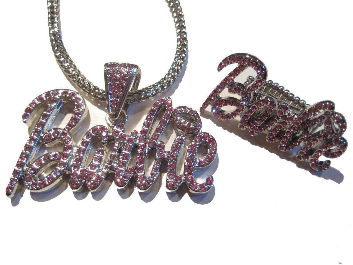 Iced Out Nicki Minaj Barbie Necklace Ring Pink Friday P