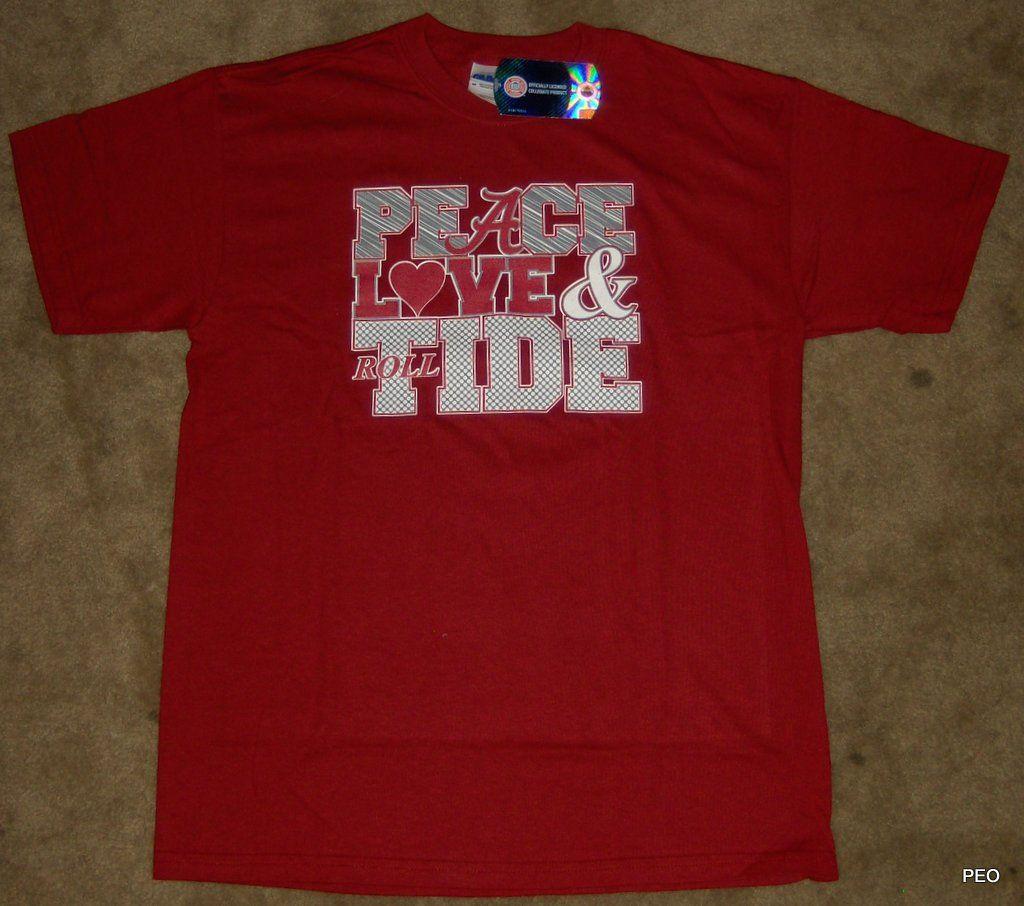 alabama crimson tide peace love tide crimson cotton t shirt size youth