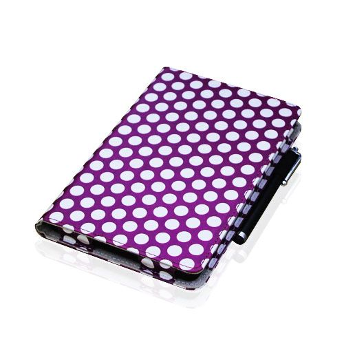 Kindle Fire PU Leather Polka Dot Folio Case Cover Car Charger Stylus