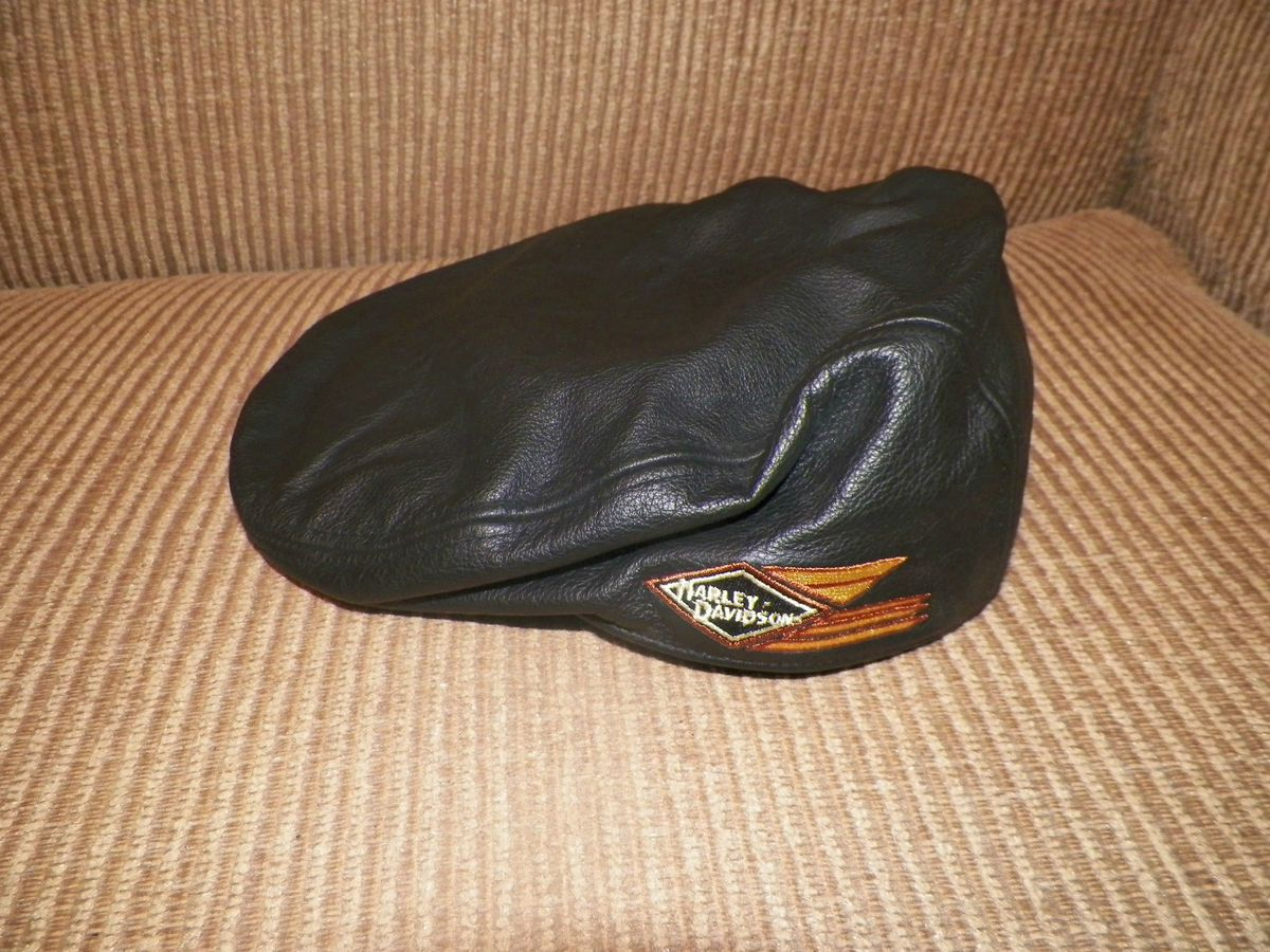 AUTHENTIC HARLEY DAVIDSON 100 LEATHER APPLE JACK NEWS BOY MENS CAP HAT