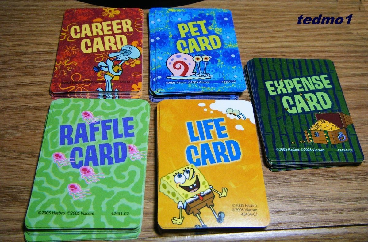 Squarepants Game of Life Board Game Parts 78 Game Cards