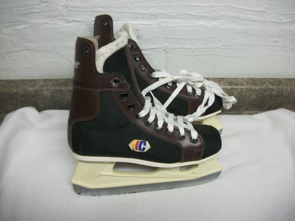 Boys Girls Youth Ice Hockey Skates Size 5 Cooper J60 Brown Black
