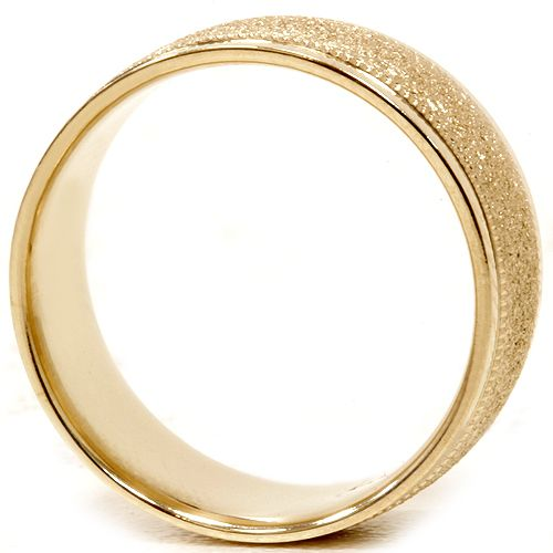 Mens Brushed Wedding Band Solid 10K Yellow Gold Matte Ring 8mm Sz 7 12