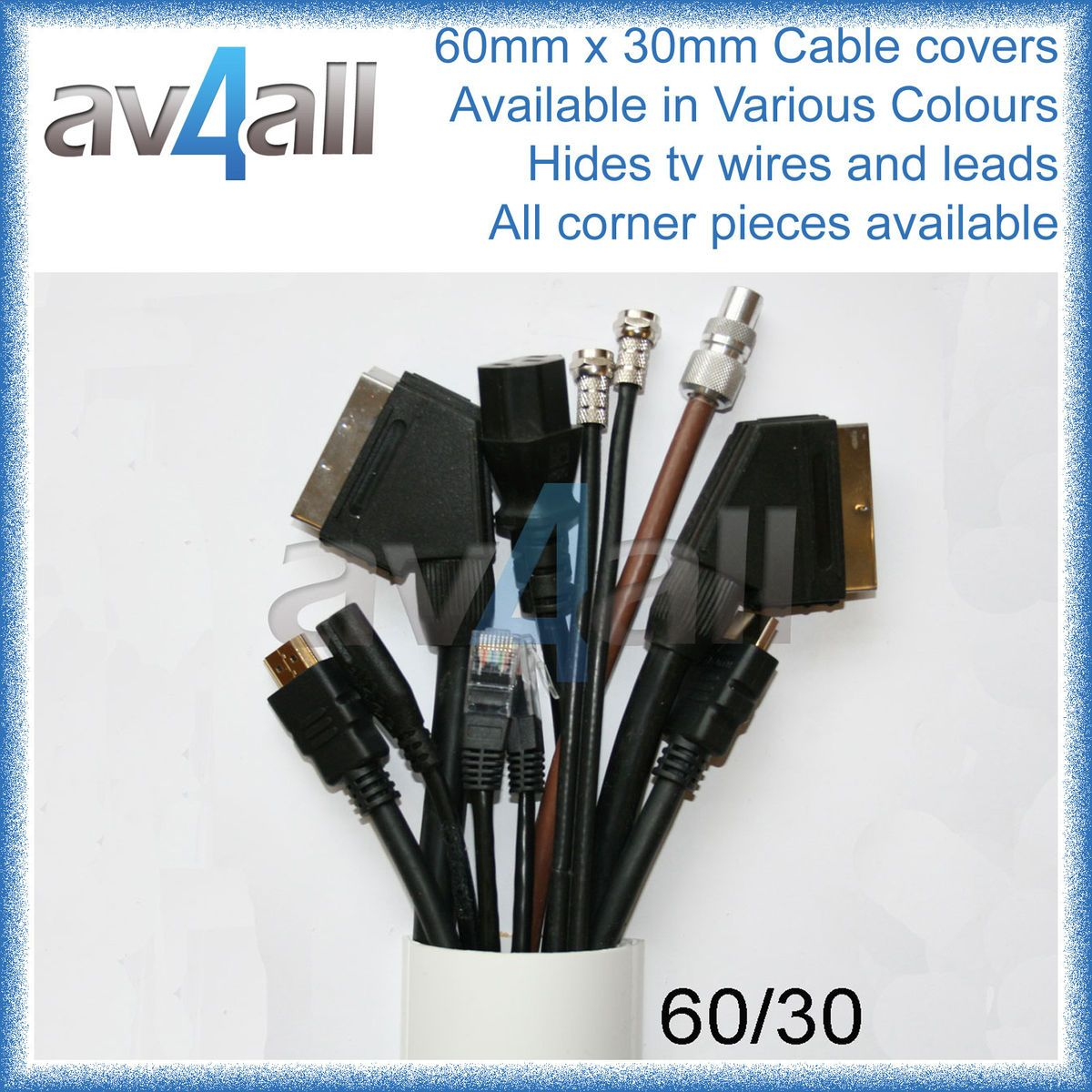 Line 60x30 Cable TV Wire Covers Trunking Hide TV Wire Hiding Cable