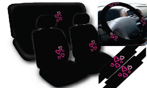 Story Pink Hearts Black Complete Car Seat Cover Full Set Std