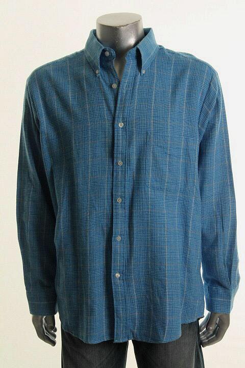 Blue Flannel Long Sleeve Glen Plaid Pocket Button Down Shirt L