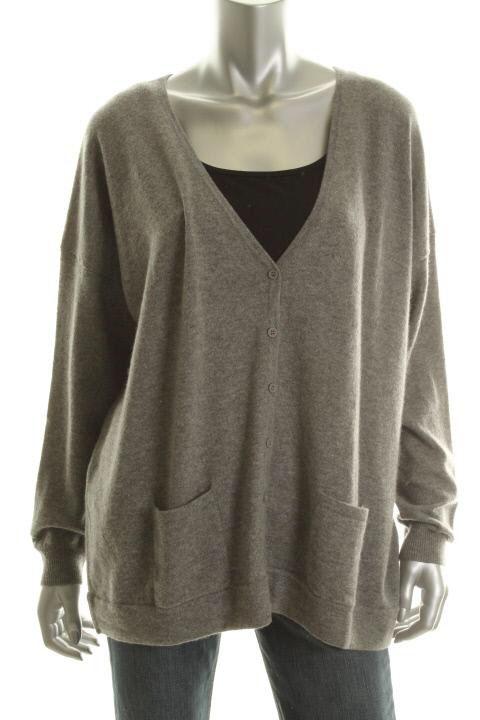 Cece New Gray Cashmere Long Sleeve V Neck Cardigan Sweater M L BHFO