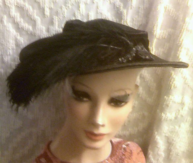 Old Victorian Black Velvet Large Brim Ostrich Feather Sequin Beaded