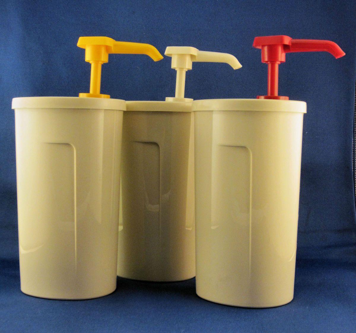 Tupperware Condiment Pump Dispenser Set of Three New