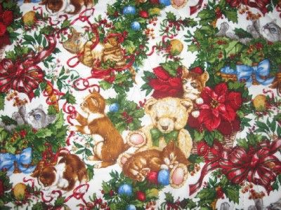 Handmade Quilted Table Runner Cats Kittens Christmas Berries Holly